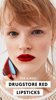 The best drugstore lipstick / makeup tips - Summer Make-Up Lipstick For Fair Skin, Lipstick Art, Lipstick Swatches, Lipstick Colors, Lip Colors, Lip Art, Best Drugstore Red Lipstick, Deep Red Lipsticks, Drugstore Makeup