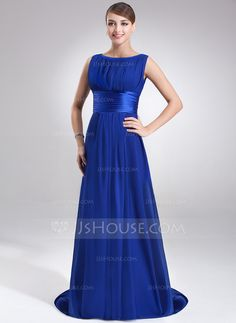 Evening Dresses - $119.99 - A-Line/Princess Scoop Neck Sweep Train Chiffon Charmeuse Evening Dress With Ruffle (017022545) http://jjshouse.com/A-Line-Princess-Scoop-Neck-Sweep-Train-Chiffon-Charmeuse-Evening-Dress-With-Ruffle-017022545-g22545