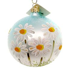 Christina's World Daisies Under Blue Sky Glass Ball Ornament Spring
