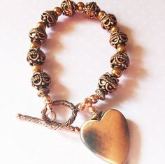 COPPER HEART BRACELET by AjaBoutique on Etsy