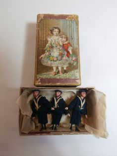"3 Tiny 2"" Antique Hand Carved Peg Wooden Wood Sailor Dolls in Presentation Box 