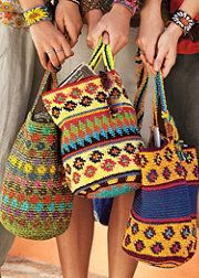 crochet cotton fiber bags -From artisan weavers in Guatemala, this colorful tote is designed-based on original farm bags used for sowing corn. Crochet Crafts, Knit Crochet, Love Crochet, Crochet Handbags, Crochet Purses, Crochet Bags, Mochila Crochet, Tapestry Crochet Patterns, Tapestry Bag