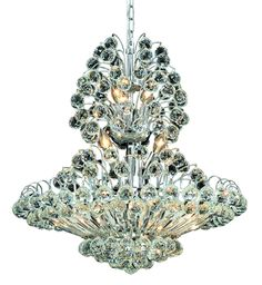 Elegant Lighting - 2908 Sirius Collection Hanging Fixture D24in H28in Lt:14 Chrome Finish (Royal Cut Crystals)