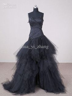 Wholesale Wedding Dresses - Buy Garden Black Wedding Dresses A Line Strapless Appliques Front Short And Long Back Tulle Bridal Gown, $176.14...