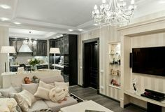Черная кухня с гостиной