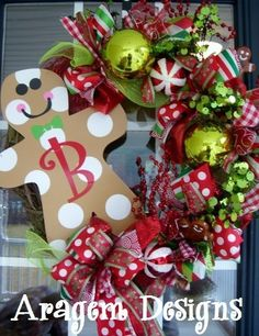 Whimsical Christmas Wreath with Metal Gingerbread Man!