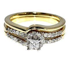 Bridal Rings Wedding Set 14k Yellow Gold Princess Cut Diamond 0.5ct W Si E/f Rings-MidwestJewellery.com http://www.amazon.com/dp/B00L6H6NMK/ref=cm_sw_r_pi_dp_oKr9tb0TP8JMX