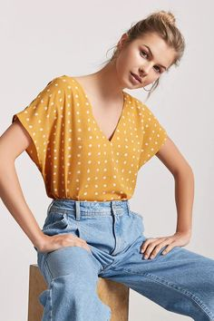 Product Name:Crepe Abstract Polka Dot Top, Category:21_Items, Price:10.9
