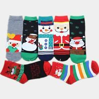 Pairs of Cute Diversified Cartoon Christmas Figure Pattern Color Block Socks For Women