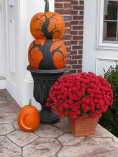 painted tree pumpkins