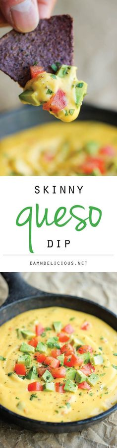 Skinny Queso Dip - An amazingly cheesy and creamy dip that you can enjoy guilt-free. It's so good, you'll want to eat this with a spoon!