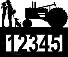 Custom Steel Cowgirl and Cowboy Tractor address sign by Designs Of Steel. $29.99.