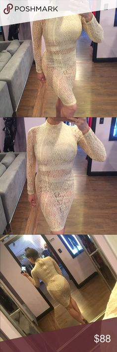 🍨 House Of Cb Nefele Gold Lace Dress This so so beautifully done I got tons of compliments when I wore it. No flaws to note. Shorties are size Medium and Dress is a Small. Dress doesn't stretch. I'm a 36 25 36 and this fit me perfectly. ✨ House of Cb Dresses Midi