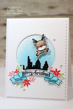 Card by Karolyn Loncon (101515) [Mama Elephant (dies) Basic Set, Bloomsies, Reindeer Games, Scalloped Banner, Seasons Greetings, Wonky Stitches; (stamps) Bloomsies, Central Park, Reindeer Games, Winter Wonderland]