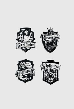 Small Harry Potter House Crest Vinyl Decal Set by AllonsyCreations