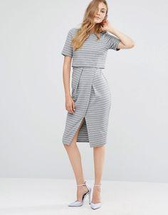 Изображение 4 из Двухслойное платье-футляр в полоску ASOS