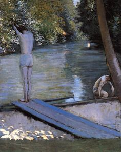 Gustave Caillebotte, Bathers about to Dive into the Yerres, 1878 -  Oil on canvas, 117 x 89 cm - Private collection