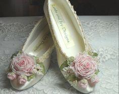 Sabra's Ballerina Shoes Roses Ribbon Work Flower Girl Wedding Bride's Shoes