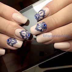 Mandala Nail Designs And Nail Art: Bright Blue Rhinestones And Mandala Nail Art Henna Nail Art, Henna Nails, Lace Nails, Gel Nails, Nail Polish, Hippie Nails, Bohemian Nails, Indian Nails, Indian Nail Art