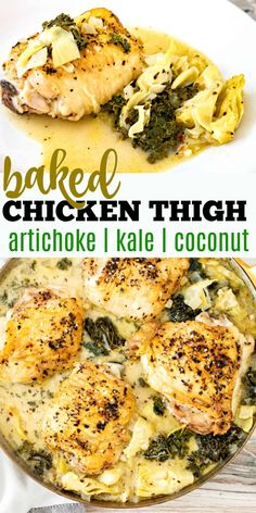 A creamy garlic sauce elevates simple Baked Chicken Thighs to new heights. This delicious low carb dinner comes together in one skillet!