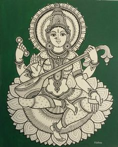 Lakshmi, along with Parvati and Saraswati, is a subject of extensive Subhashita, genomic and didactic literature of India. Indian Traditional Paintings, Indian Art Paintings, Black Canvas Paintings, Tattoo Traditional, Kalamkari Painting, Madhubani Painting, Phad Painting, Kerala Mural Painting, Mysore Painting