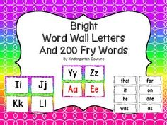 Here are some Bright Word Wall Letters and Word Wall Header- all consonant letters are in black. I made vowels in black and red.The first 200 Fry Words are also includedon a plain white background!!Print Preview for exactly what it looks like. Schedule Cards -BrightDesk Plates -BrightNumber Posters -BrightWord Wall and 200 Fry Words BrightBehavior Clip Chart BrightClassroom Rules -Bright
