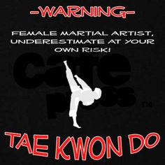 """Warning."" I don't do Tae Kwon Do, but I do karate and you can ask my brother... he knows you shouldn't underestimate me"