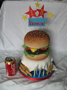 Giant Burger Birthday Cake