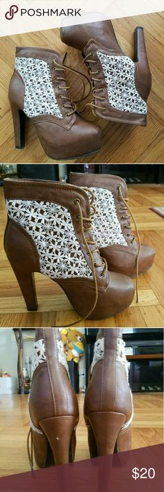 Charlotte Russe Brown Laced Booties Worn once for a photoshoot. Very cute and comfy.   3-4 in heel Only flaw is on the heel, as pictured  Size 7 Charlotte Russe brand Charlotte Russe Shoes Ankle Boots & Booties