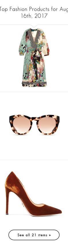 """""""Top Fashion Products for Aug 16th, 2017"""" by polyvore ❤️ liked on Polyvore featuring dresses, vestidos, green floral dress, travel dresses, wrap tie dress, polka dot wrap dress, floral wrap dress, accessories, eyewear and sunglasses"""