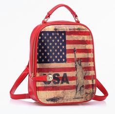 American Flag Leather Backpack