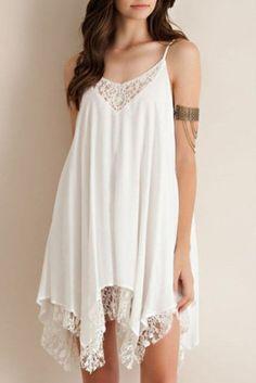 Wheretoget - White boho dress with white lace detailing