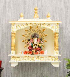 Temple Design For Home, Pooja Mandir, Pooja Room Design, Urban Decor, Puja Room, Luxury Decor, White Walls, Handicraft, Home Furnishings