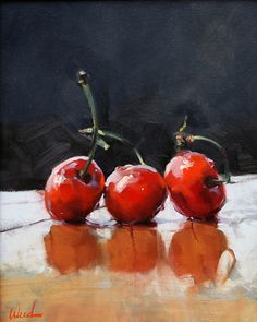"""Cherries"" by Steve Weed was selected as a Finalist in the August 2012 BoldBrush Painting Competition."