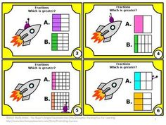 FREEBIE!! Fractions: You will receive 6 fraction task cards focusing on the Common Core skill of comparing fractions. These cards have a fun spaceship and alien theme. Find the alien on each card. You will also receive a fractions student response form and fractions answer key. These fractions math task cards work well in a math center to reinforce Grade 3 fraction skills.