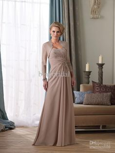 Wholesale Elegant 2013 Mother of the Bride Dresses Strapless Elbow Sleeves  Jacket Ruched Chiffon Beads Gown 23e82869f53