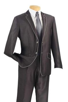 Mens Slim Fit Charcoal White Suit. We have collection of Formal Suit with unique design, color and brands.   ‪  #FormalSuits