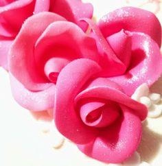 Pink fondant flowers