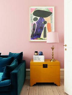 Decorating With Mustard Yellow - - Pink walls and mustard yellow furniture with velvet blue/teal sofa and brass/gold accents. Jewel tones for the win! Mustard Yellow Walls, Living Room Decor, Bedroom Decor, Teal Sofa, Yellow Interior, Pink Walls, Home And Deco, Living Room Inspiration, House Colors