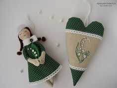 Ручная работа by natulja-best: Spring. Mini doll & heart decorated with embroidery