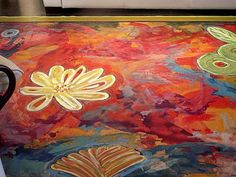 floor-cloth-master piece on the floor! Painted Floor Cloths, Painted Rug, Painted Floors, Hand Painted, Floor Art, Floor Decor, Floor Rugs, Upholstered Furniture, Painted Furniture