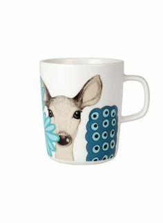 Kaunis kauris mug (white, turquoise, blue) |Décor, Kitchen & Dining, Dinnerware, Kupit ja mukit | Marimekko