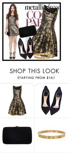 """247. Metallic Dress"" by diana97-i ❤ liked on Polyvore featuring Oscar de la Renta, Christian Dior, Sergio Rossi, Cartier, dress, metallics and metallicdress"