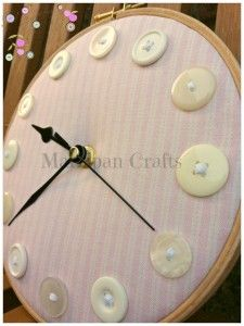 Button hoop pink stripe clock £25.00 from Marzipan Crafts