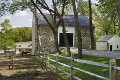 Mine Road Farm - Exterior - traditional - landscape - philadelphia - Archer & Buchanan Architecture, Ltd.via houzz Landscaping With Roses, Pool Landscaping, Bank Barn, Split Rail Fence, Stone Barns, Stone Houses, Stone Siding, Stone Facade, Rustic Fireplaces