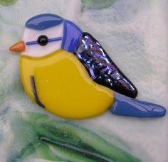 Blue bird glass fusing