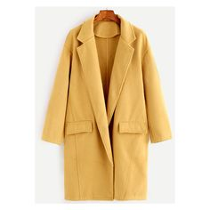 Yellow Shawl Collar Wool Blend Coat ($40) ❤ liked on Polyvore featuring outerwear, coats, brown coat and wool blend coat