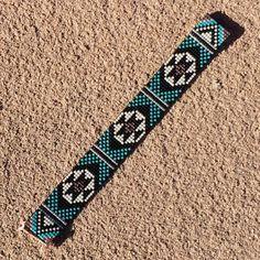 Turquoise Black Bead Loom Bracelet Bohemian Boho by PuebloAndCo
