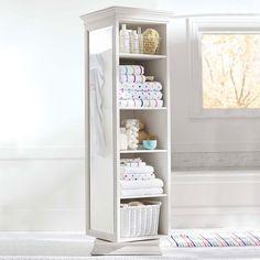 Pottery Barn Teen Display-It Storage Mirror, Simply White - Bath + Beach - Bathroom Storage Revolving Bookcase, Bookcase Shelves, Wall Shelves, Shelf, Storage Mirror, Bathroom Storage, Bathroom Organization, Mirror Box, Floor Mirror