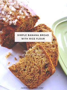 Banana Bread with Rice Flour (Gluten-Free) // Easy Gluten-Free Baking // Low Calorie Banana Bread, Flours Banana Bread, Gluten Free Banana Bread, Easy Banana Bread, Gluten Free Baking, Recipes Using Rice Flour, Rice Flour Cookies, Banana And Rice, Cookies Sans Gluten